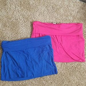 Two cotton mini skirts cover ups
